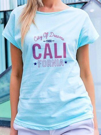 T-shirt z nadrukiem CALIFORNIA turkusowy