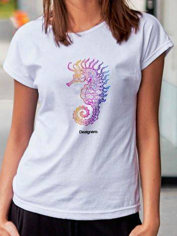 T-shirt z nadrukiem konika morskiego biały