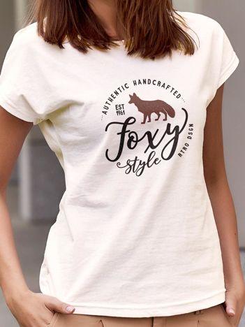 T-shirt z nadrukiem lisa ecru