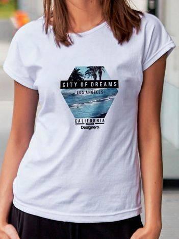 T-shirt z nadrukiem morza biały