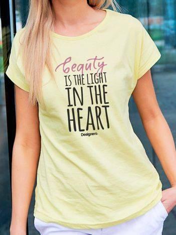 T-shirt z nadrukiem napisów żółty