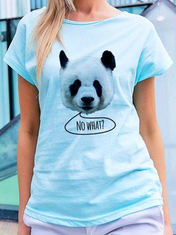 T-shirt z nadrukiem pandy turkusowy