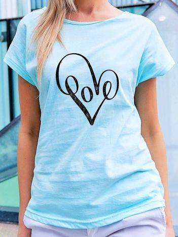 T-shirt z nadrukiem serca niebieski