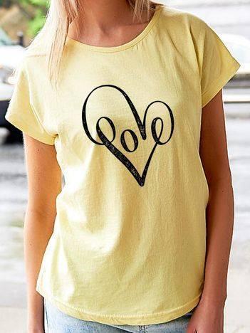 T-shirt z nadrukiem serca żółty
