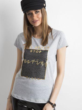 T-shirt z nadrukiem szary
