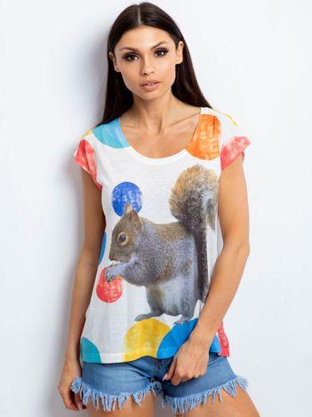 T-shirt z nadrukiem wiewiórki i kolorową nitką ecru