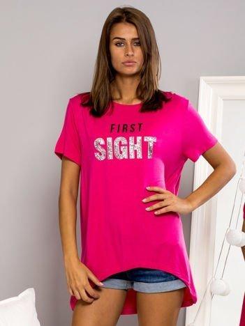 T-shirt z napisem FIRST SIGHT różowy