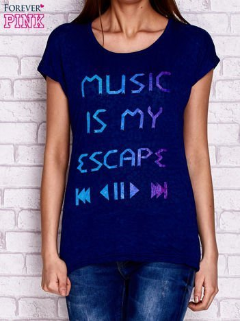 T-shirt z napisem MUSIC IS MY ESCAPEgranatowy