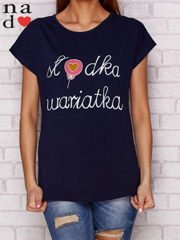 T-shirt z napisem SŁODKA WARIATKA granatowy