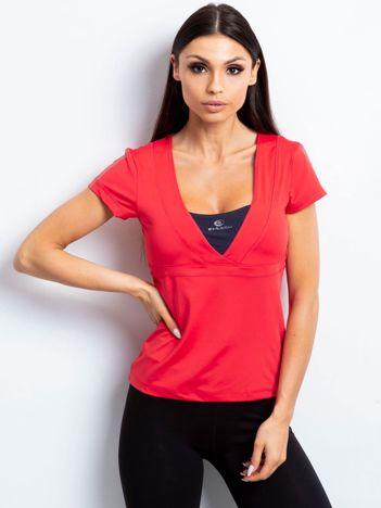 T-shirt z wycięciem na plecach koralowo-grafitowy