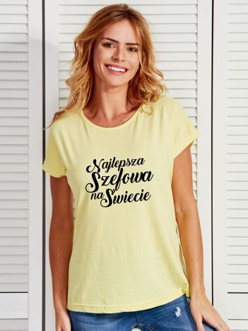 T-shirt żółty NAJLEPSZA SZEFOWA NA ŚWIECIE