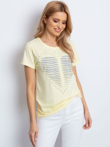 T-shirt żółty cut out z sercem