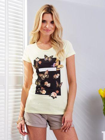 T-shirt żółty z motylami