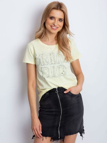 T-shirt żółty z napisem cut out
