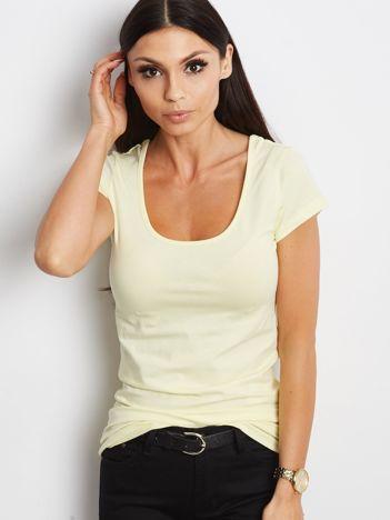 T-shirt żółty z wycięciami z tyłu
