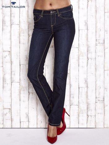 TOM TAILOR Granatowe spodnie jeansowe z prostą nogawką