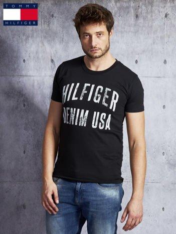 TOMMY HILFIGER Czarny t-shirt męski z napisem