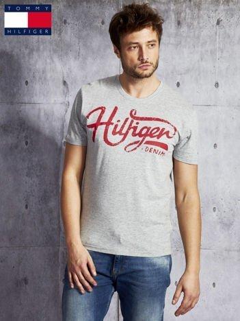 TOMMY HILFIGER Szary t-shirt męski z czerwonym nadrukiem