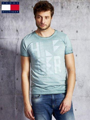 TOMMY HILFIGER Zielony dekatyzowany t-shirt męski