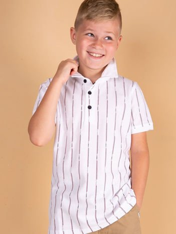 TOMMY LIFE Biała koszulka polo dla chłopca w paski