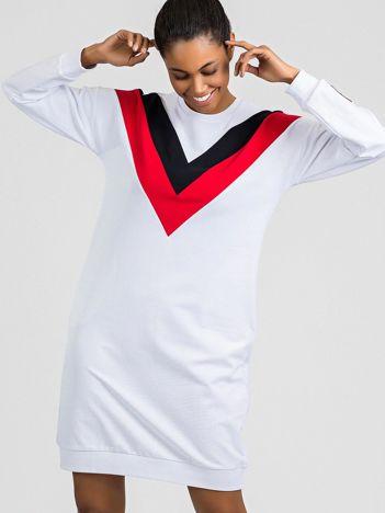 TOMMY LIFE Biało-granatowa sukienka