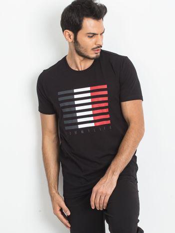 TOMMY LIFE Czarny t-shirt męski z nadrukiem
