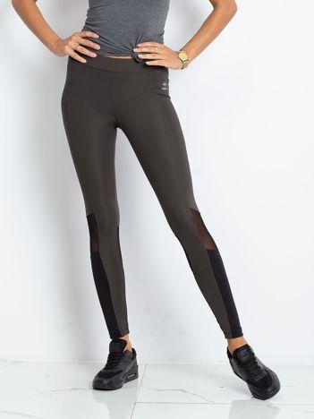 TOMMY LIFE Khaki-czarne sportowe legginsy