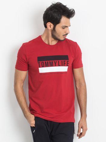 TOMMY LIFE Męski czerwony t-shirt