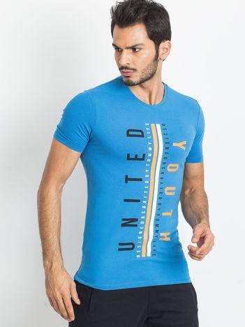 TOMMY LIFE Niebieski męski t-shirt z nadrukiem