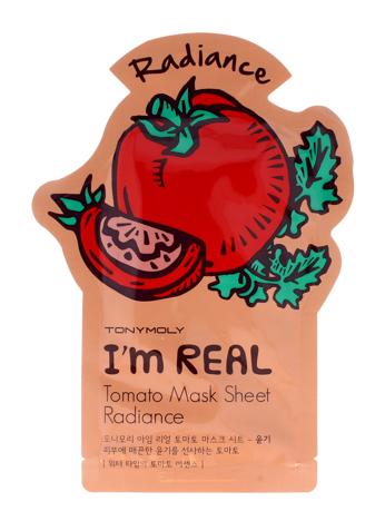 TONY MOLY I'M REAL Tomatoe Pomidorowa rozświetlająca koreańska maska w płachcie 21g