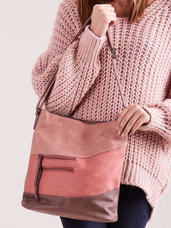 Torba damska z łączonych materiałów różowa