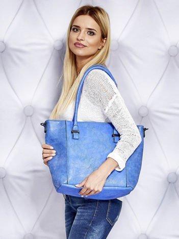 Torba shopper z odpinanym paskiem niebieska