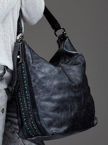 Torba shopper z ozdobną wstawką ciemno-szara