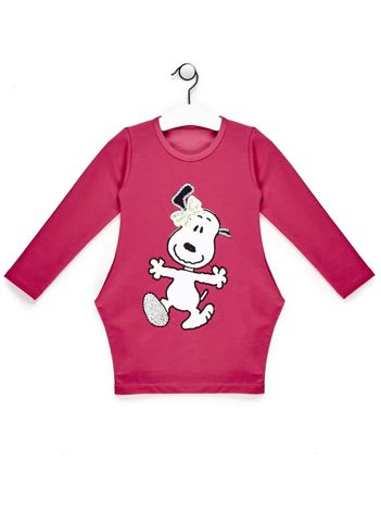 Tunika dla dziewczynki z komiksową naszywką różowa