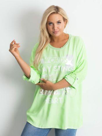 Tunika plus size z nadrukiem fluo zielona