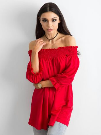 Tunika z hiszpańskim dekoltem czerwona