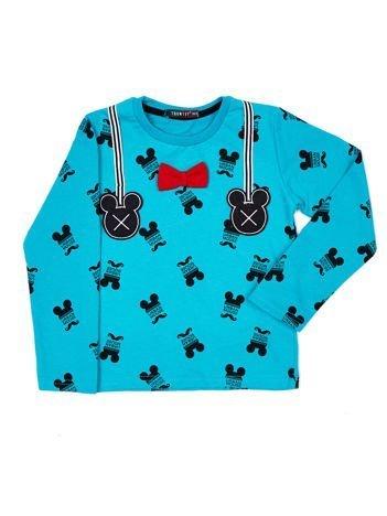 Turkusowa bawełniana bluzka dziecięca z nadrukiem Myszki Mickey