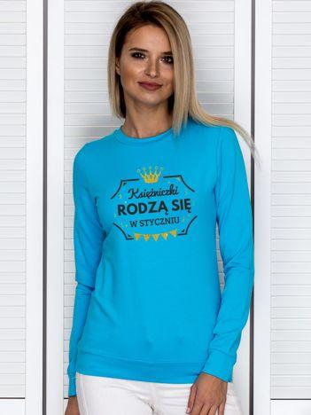 Turkusowa bluza damska z koroną STYCZNIOWE KSIĘŻNICZKI