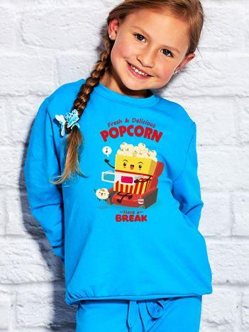Turkusowa bluza dziecięca z chrupiącym popcornem
