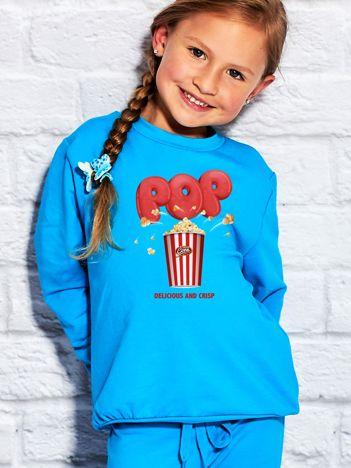 Turkusowa bluza dziecięca z nadrukiem popcornu