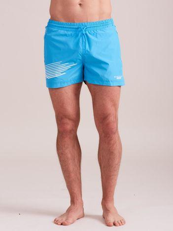 Turkusowe męskie szorty kąpielowe z nadrukiem