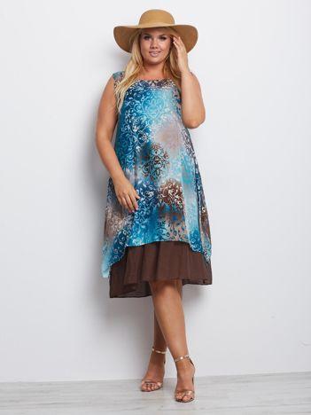Turkusowo-brązowa sukienka plus size Colorado
