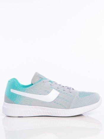 Turkusowo-szare buty sportowe z miękkiej tkaniny na białej podeszwie