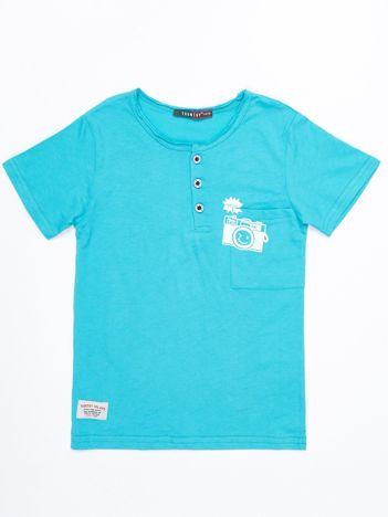 Turkusowy bawełniany t-shirt dziecięcy z nadrukiem aparatu