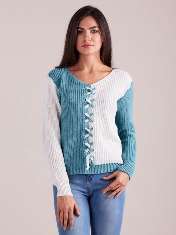Turkusowy dwukolorowy sweter