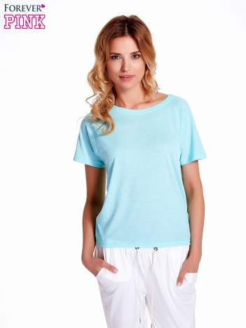 Turkusowy gładki t-shirt