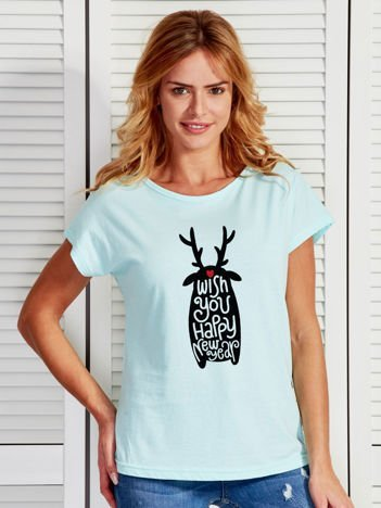 Turkusowy świąteczny t-shirt z nadrukiem HAPPY NEW YEAR