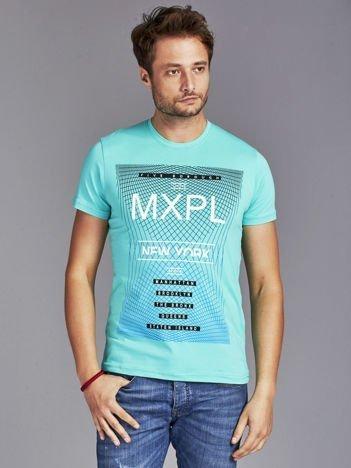 Turkusowy t-shirt męski z nadrukiem w miejskim stylu