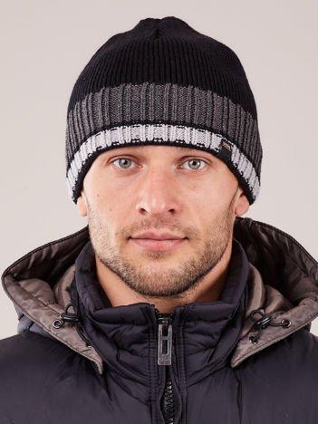 V&T Winter Fashion Czarna Ocieplana Czapka Męska