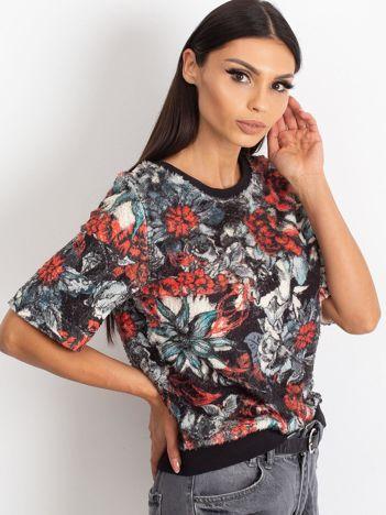 VIA DELLE ROSE Czarna bluza z kwiatami